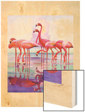 """Pink Flamingos,""January 29, 1938 Wood Print by Francis Lee Jaques"