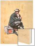 """Man and Dog"" or ""Pals"", September 27,1924 Wood Print by Norman Rockwell"