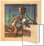 """Drilling for Oil,"" November 9, 1946 Wood Print by Mead Schaeffer"