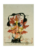 In the Year before II, Portrait of Edgar Allan Poe (1809-49) 1982 Giclee Print by Horst Janssen