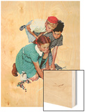 """Marble Champion"" or ""Marbles Champ"", September 2,1939 Wood Print by Norman Rockwell"