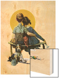 """Little Spooners"" or ""Sunset"", April 24,1926 Wood Print by Norman Rockwell"