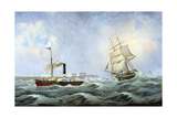 The Brig 'Brotherly Love' and Tug 'William', 1875 Giclee Print by John Scott
