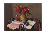 Carnations and Account Books, 1925 Giclee Print by Felix Edouard Vallotton