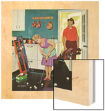 """Putting Around in the Kitchen,"" September 3, 1960 Wood Print by Richard Sargent"