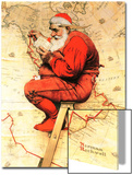 """Santa at the Map"", December 16,1939 Posters by Norman Rockwell"