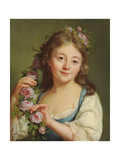 Young Girl with a Garland of Roses Giclee Print by Antoine Vestier