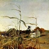 """Autumn Cornfield,""October 1, 1950 Wood Print by Andrew Wyeth"