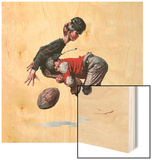 """Fumble"" or ""Tackled"", November 21,1925 Wood Print by Norman Rockwell"