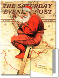 """Santa at the Map"" Saturday Evening Post Cover, December 16,1939 Prints by Norman Rockwell"