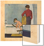 """Scuba in the Tub"", November 29, 1958 Wood Print by Amos Sewell"