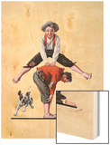 """Leapfrog"", June 28,1919 Wood Print by Norman Rockwell"
