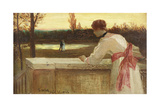 Girl on a Balcony Watching a Couple by a Lake Giclee Print by Philip Richard Morris