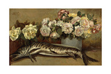 Still Life with Flowers and Fish or Pike and Roses, 1882 Giclee Print by Giovanni Segantini