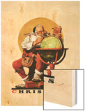 """Santa at the Globe"", December 4,1926 Wood Print by Norman Rockwell"