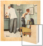 """Before the Shot"" or ""At the Doctor's"", March 15,1958 Wood Print by Norman Rockwell"