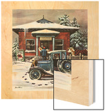 """Rural Post Office at Christmas,"" December 13, 1947 Wood Print by Stevan Dohanos"