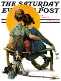 """Little Spooners"" or ""Sunset"" Saturday Evening Post Cover, April 24,1926 Prints by Norman Rockwell"