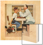 """At the Optometrist"" or ""Eye Doctor"", May 19,1956 Wood Print by Norman Rockwell"