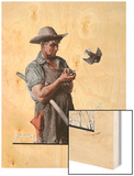 """Farmer and the Bird"" or ""Harvest Time"", August 18,1923 Wood Print by Norman Rockwell"