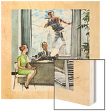 """Window Washer"", September 17,1960 Wood Print by Norman Rockwell"