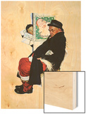 """See Him at Drysdales"" (Santa on train), December 28,1940 Wood Print by Norman Rockwell"