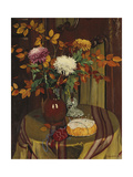 Chrysanthemums and Autumn Foilage; Chrysanthemes Et Feuillage D'Automne, 1922 Giclee Print by Felix Edouard Vallotton