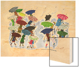 Umbrellas - Jack and Jill, April 1945 Wood Print by Stella May DaCosta