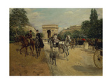 Knights and Carriages on Bois De Boulogne Avenue, with Arc De Triomphe in Background Giclee Print by Georges Stein