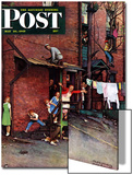 """Homecoming G.I."" Saturday Evening Post Cover, May 26,1945 Art by Norman Rockwell"
