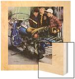 """""""Tex's Motorcycle"""", April 7, 1951 Wood Print by Stevan Dohanos"""