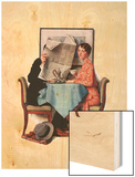 """Breakfast Table"" or ""Behind the Newspaper"", August 23,1930 Wood Print by Norman Rockwell"
