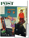 """""""Putting Around in the Kitchen,"""" Saturday Evening Post Cover, September 3, 1960 Poster by Richard Sargent"""