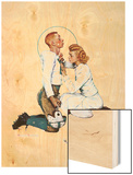 """Letter Sweater"" (boy & girl), November 19,1938 Wood Print by Norman Rockwell"