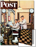 """Barber Getting Haircut,"" Saturday Evening Post Cover, January 26, 1946 Prints by Stevan Dohanos"