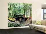 """Visitors to Cabin in the Woods"", August 23, 1958 Wall Mural – Large by Thornton Utz"