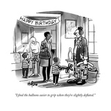 """I find the balloons easier to grip when they're slightly deflated."" - New Yorker Cartoon Premium Giclee Print by Kaamran Hafeez"