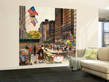 """""""Michigan Avenue, Chicago,"""" October 15, 1960 Wall Mural – Large by John Falter"""