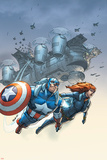 Marvel Team-Up No.6 Cover: Black Widow and Captain America Swinging Print by Scott Kolins
