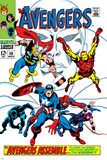 Giant-Size Avengers No.1 Cover: Thor, Iron Man, Captain America and Black Panther Lámina por John Buscema