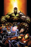 World War Hulk No.4 Cover: Hulk, Dr. Strange, Mr. Fantastic and Iron Man Prints by David Finch