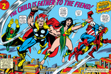 Giant-Size Avengers No.1 Group: Thor, Captain America, Iron Man, Vision and Mantis Flying Poster by Rich Buckler