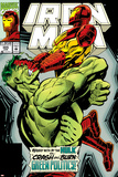 Iron Man No.305 Cover: Iron Man and Hulk Fighting Photo by Kev Hopgood