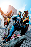 Avengers No.82 Cover: Captain America, Hawkeye, Falcon, Iron Man, Vision, Scarlet Witch & Avengers Photo by Scott Kolins