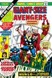 Giant-Size Avengers No.1 Cover: Thor, Captain America, Iron Man, Vision and Scarlet Witch Charging Póster por Rich Buckler