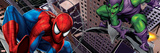 Spider-Man and Green Goblin Fighting and Flying in the City Posters