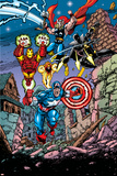 Avengers No.21 Cover: Captain America, Thor, Iron Man, Black Panther and Avengers Posters par George Perez
