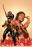 House Of M: Avengers No.2 Cover: Cage, Luke, Hawkeye and Shang-Chi Swinging Plakater av Mike Perkins