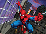Spider-Man Swinging through the City Reprodukcje
