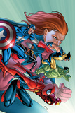 Marvel Adventures Avengers No.32 Cover: Spider-Man, Captain America, Wolverine and Hulk Prints by Salvador Espin